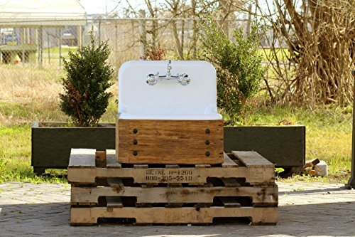 Antique Inspired 24' High Back Farm Sink Cast Iron Original Porcelain Reclaimed Wood Wall Mount Bath Vanity Package