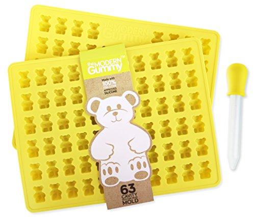 2 PACK - PROFESSIONAL GRADE PURE LFGB SILICONE Gummy Bear Mold by The Modern Gummy, Make 126 Bears + Dropper + Recipe PDF; No Plastic Fillers, BPA, or Chemical Coating; Candy, Chocolate, Soap, Gelatin