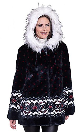 Dumonde Black Mountain Ladies Snowflake Faux Fur Coat, Navy, Size X-Large (Outerwear Mountain Black)