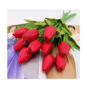 tutu.vivi Artificial Flowers Real Touch Tulips PU Tulips Flowers Arrangement Bouquet Wedding Bouquets Wedding Decor Hotel Party Event Christmas Decor Set of 10 5