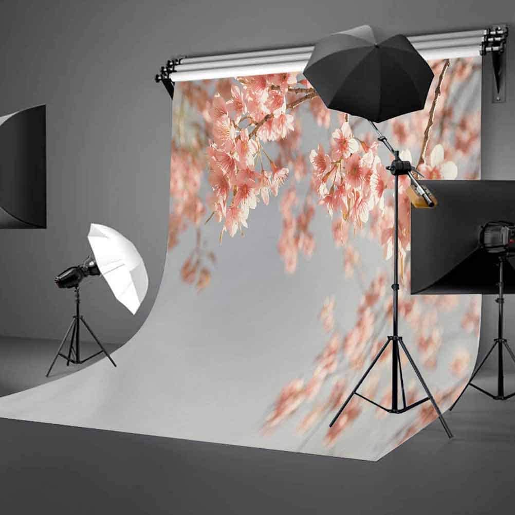 Peach 6.5x10 FT Photo Backdrops,Japanese Scenery Sakura Tree Cherry Blossom Nature Photography Coming of Spring Background for Baby Shower Bridal Wedding Studio Photography Pictures Bluegrey Coral