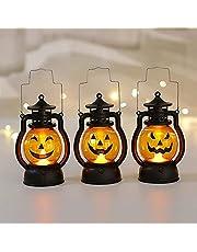 Pompoen Lantaarn Oplichten Flash Voor Kinderen Handvat Buitenshuis, Pompoen Led-verlichting Met Batterij-aangedreven Halloween Decoraties, Pompoen Licht Binnen Buiten Decor Ornamenten (3-Pack)