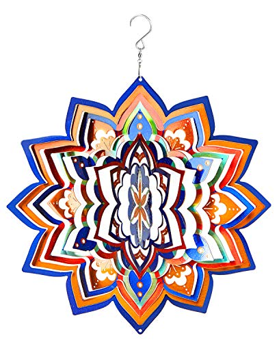 Wind Spinner Hanging 19 Guage 3D Kinetic Metal for Garden Patio Outdoor Indoor Lawn Decoration Ornaments Gifts Hand Painted Mandala Lucky Star Gold 12 Inch Wind - Inch Wind 12 Spinner Spinners