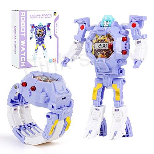 Kids Transformers Toys Purple Watch for Girls Toys Bumblebee Transformer Children Digital Watch Child Robot Cartoon 2 in 1 Electrical Wristwatch Gift