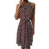 Connia Women Sleeveless Summer Dress Polka Dot Casual Off Shoulder O-Neck Dress Loose Sundress (L, Red)