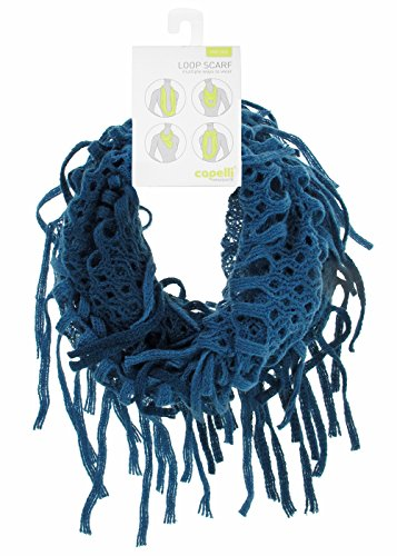 Two Tone Openwork - Two Tone Openwork Lightweight Knit Loop Scarf Teal No Sz