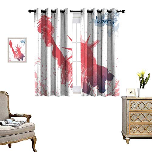 homehot 4th of July Room Darkening Wide Curtains Watercolor Lady Liberty Silhouette with Paint Splashes Independence Customized Curtains Dark Coral Pale Blue
