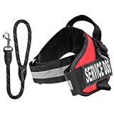 "Pawaboo Service Dog Vest Harness + Dog Leash, Premium Durable Reflective Dog Vest Harness with 2 Removable ""SERVICE DOG"" Hook and Loop Patches + 19"" Braided Rope Dog Leash, Large Size, RED"