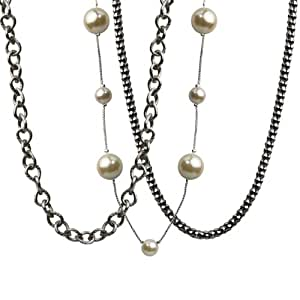 Cream Simulated Pearl and Silver Plated Chain Necklace Set (8mm/12mm)