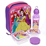 Disney Girls' Princess Ariel, Belle and Rapunzel 5 Piece Insulated Lunch Kit Set