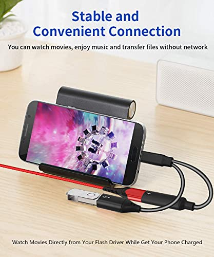 USB C OTG Adapter with Power, USB C to USB Female with 60W PD Charging OTG Adapter for Samsung S21/S20/S20+/Note 10+, iPad Pro, Google Chromecast with Google TV, Android LG V40 30, Dell XPS-Black