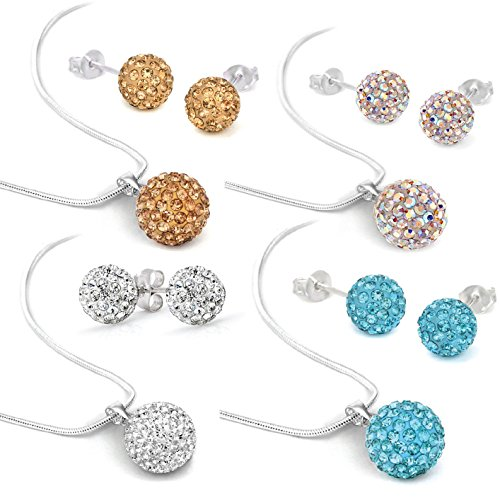 Crystal Pendant Jewelry Set Necklace and 8mm Disco Ball Stud Earrings Gift Pack (Pave And Crystal Necklace)