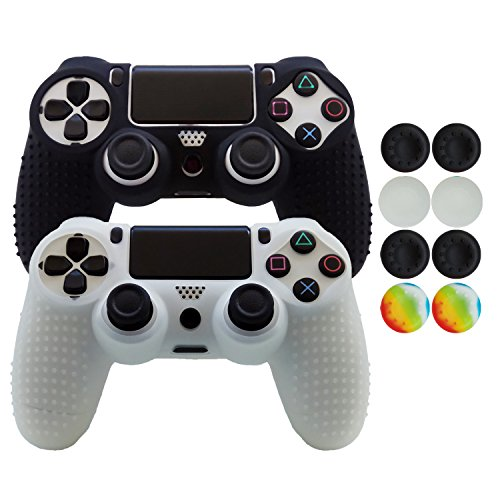 Hikfly Non-Slip Studded Rubber Oil Silicone Controller Cover with 8pcs Thumb Grips Caps Kit for Sony PS4/Slim/Pro Controller(Black,White)
