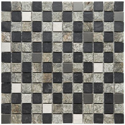 """UPC 732763021984, Abbey 7/8"""" x 7/8"""" Natural Stone and Metal Textured Mosaic in Alloy Verde"""