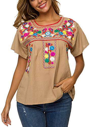 YZXDORWJ Women's Embroidered Mexican Peasant Blouse (S, B269-GR)