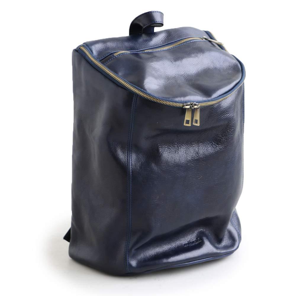 リュックサック デイバッグ リュック バッグ カバン 鞄 イタリアンカウレザー 牛革 タンニン鞣し レザー B07Q1CLTR3 ネイビー F/-01