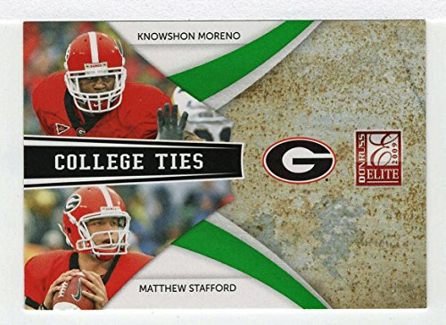 Knowshon Moreno / Matthew Stafford 659/899 (Football Card) 2009 Donruss Elite College Ties GREEN # 5 - Combos