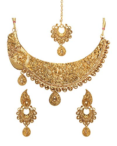 (Bindhani Indian Jewelry Wedding Party Wear Bridal Bridemaids Antique Crafted Gold Plated Kundan Choker Necklace Earrings Tikka Set Designer Bollywood Style Jewellery Tika Set for Women )