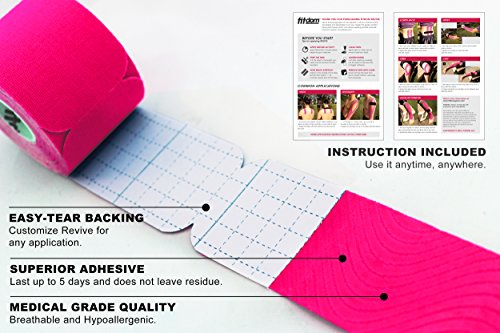 Fitdom Kinesiology Physiotherapy Sports Tape + BONUS Instruction Guide. FDA Approved. Therapeutic Taping for Knee, Shoulder, Elbow. (Eletric Pink Precut Bulk, Precut Bulk -140 strips) by Fitdom (Image #4)