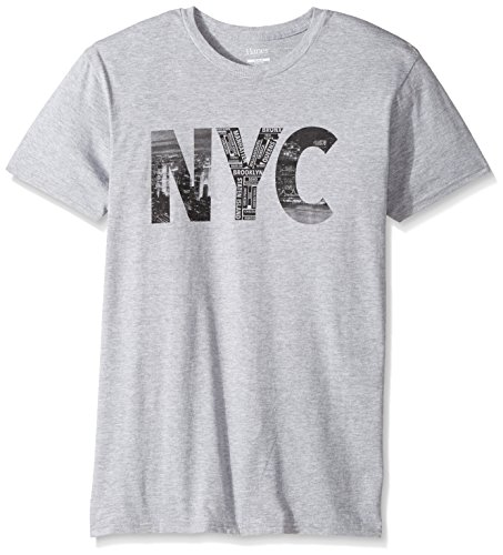 Steel Vintage T-shirt - Hanes Men's Graphic T-Shirt-Americana Collection, Light Steel/New York City, Small