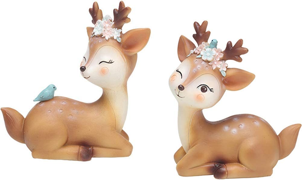 DOYIFun Pack of 2 Resin Fawn Doe Figurines Toys, Cute Deer Cake Toppers Baby Shower Birthday Wedding Party Decor