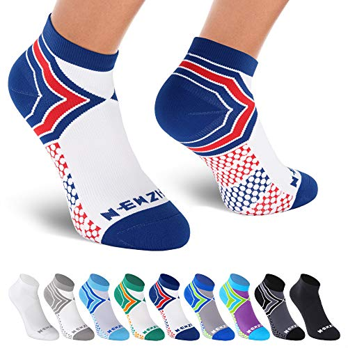 NEWZILL Low Cut Compression Socks - Unisex Running Socks with Embedded Frequency Technology for Heel, Ankle & Arch Support (Small, Blue/Red/White)