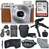 Canon PowerShot G9 X Mark II Digital Camera (Silver) W/32GB SD Card + Table Top Tripod + AC/DC Turbo Travel Charger+ Fibertique Cleaning Cloth and Complete Bundle