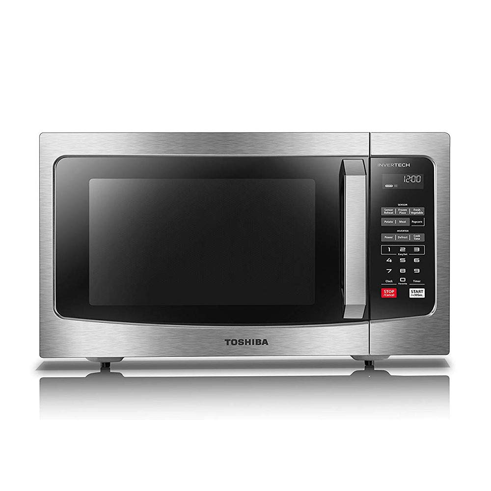 Toshiba EM245A5C-SS Microwave Oven with Inverter Technology, LCD Display and Smart Sensor, 1.6 Cu.ft/1250W, Stainless Steel by Toshiba