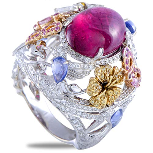 Garrard (Est) Garrard 18K Yellow, White and Rose Gold Diamond, Pink Tourmaline and Sapphire -