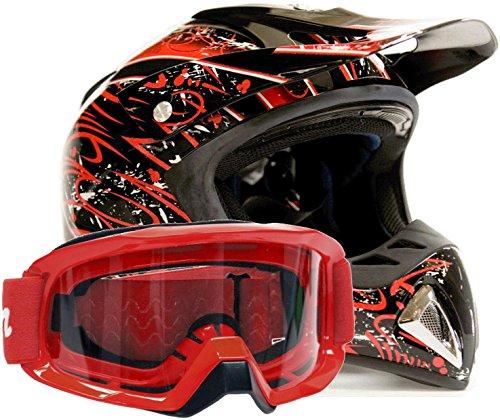 Adult Offroad Helmet & Goggles Gear Combo DOT Motocross ATV Dirt Bike MX Black Red Splatter ( Small )