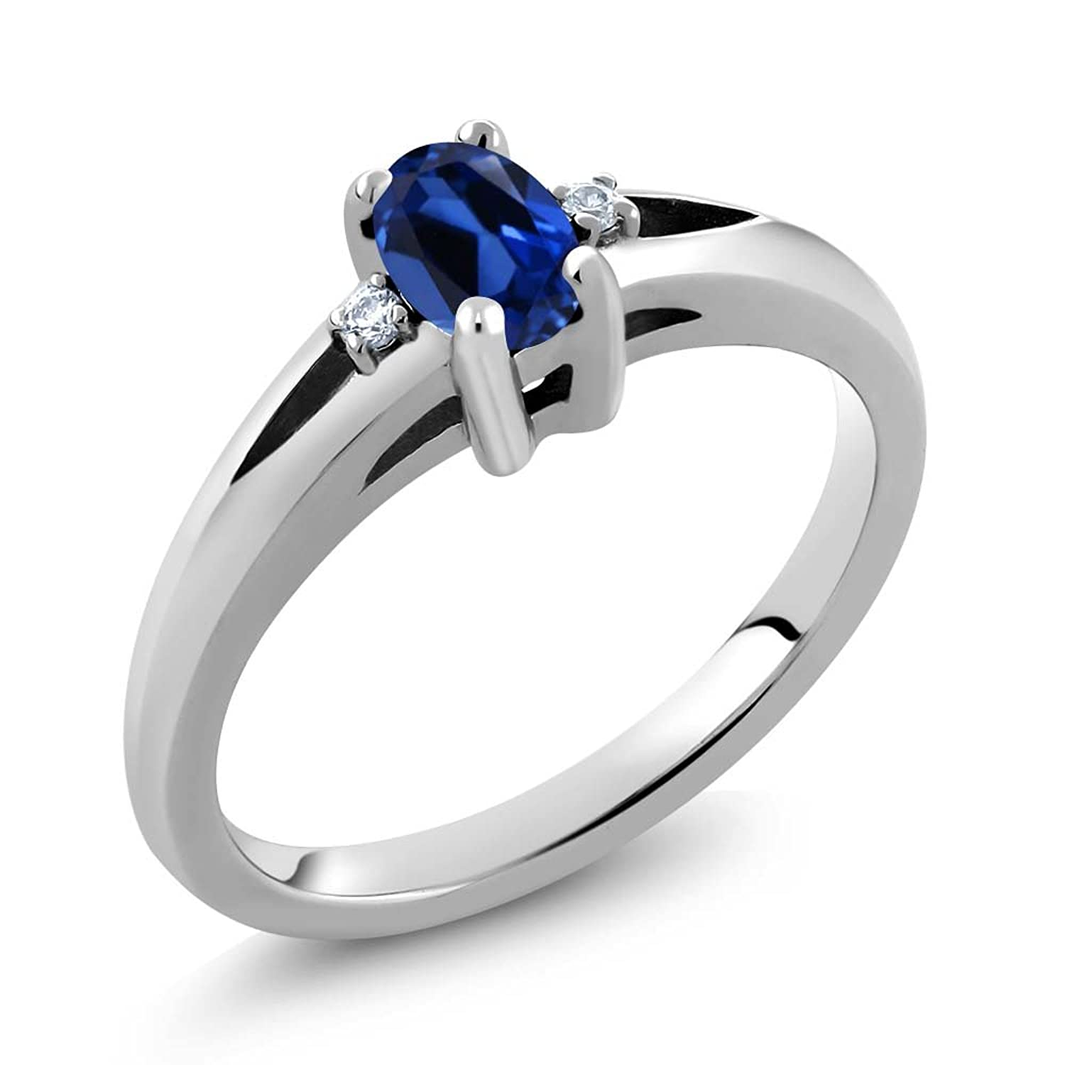 0.71 Ct Oval Blue Simulated Sapphire 925 Sterling Silver Ring
