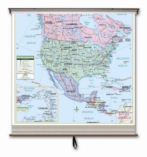 Wall Map Primary - Western Hemisphere Primary Wall Map Set on Roller w/ Backboard-Your choice wall or wipeboard/chalkboard mount.