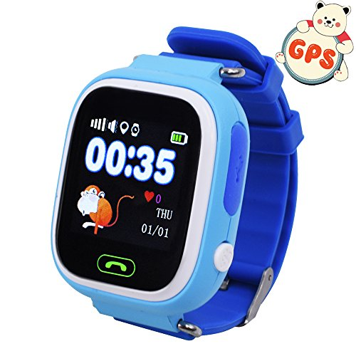 9Tong Kids GPS Smart Watch, GPS GSM Bracelet Tracker Support SOS Call, GPS Locator, Voice Chatting, Remote Monitor, Pedometer, Anti-Lost Monitor, Pedometer for Children
