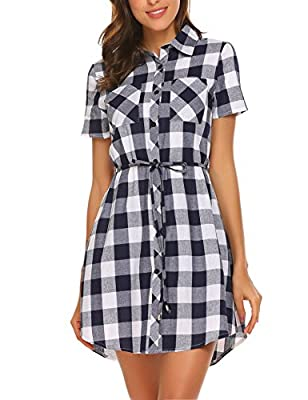 Hotouch Girls Fashion Flannel Short Sleeve Belted Plaid Shirt Dress((Navy Blue&White,M)