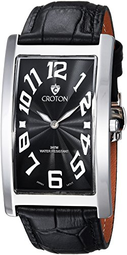 Croton Mens Stainless Steel Watch (CROTON Men's 'Aristocrat' Quartz Stainless Steel and Leather Casual Watch, Color:Black (Model: CN307533BSBK))
