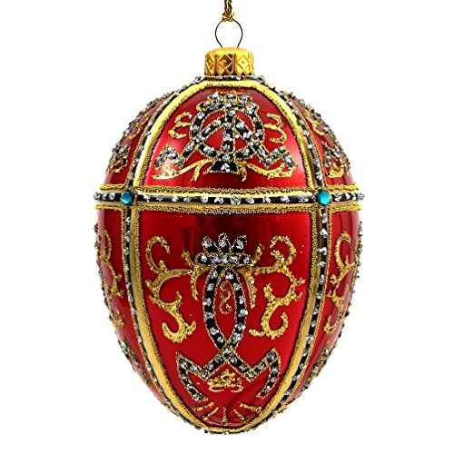 Red Egg Ornaments - Faberge Inspired- Jeweled Egg Glass Ornament - Red
