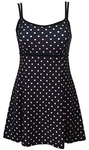 DANIFY women 's Plus Size Swim Dress One Piece Cover Up Tankini Bathing Suits US16/IT50 b-Pink point