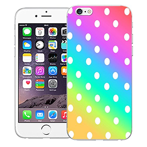 """Mobile Case Mate iPhone 6S 4.7"""" Silicone Coque couverture case cover Pare-chocs + STYLET - Rainbow Polka pattern (SILICON)"""