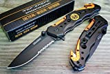 #2: TAC-FORCE Spring Assisted Opening EMT EMS ORANGE Rescue Folding Pocket Knife