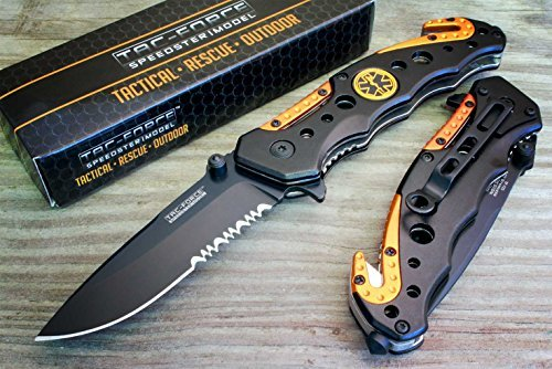 Snake Eye Tactical Spring Assisted Opening EMT EMS Orange Folding Pocket Knife For Sale