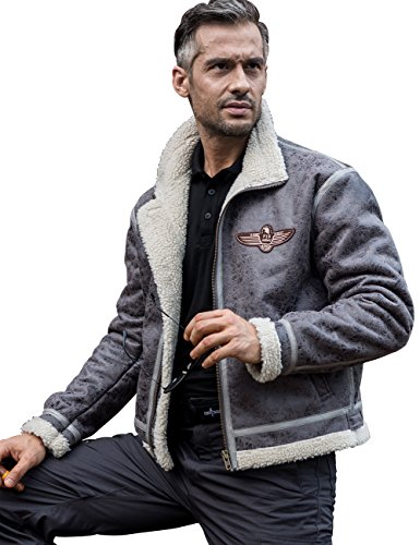 FREE SOLDIER Men Classic Bomber Jacket Autumn Winter Tactical Pilot Jacket(Gray L)