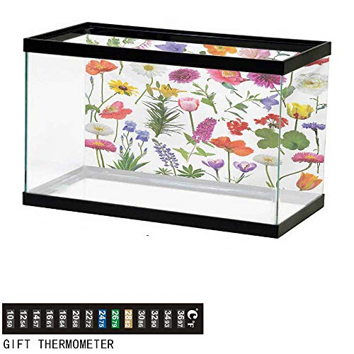 wwwhsl Aquarium Background,Flower,Types of Flowers Vivid Colored Roses Tulips Daisies Hydrangeas Lilacs Artwork Print,Multicolor Fish Tank Backdrop 72