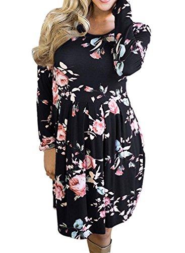 check out 48956 d6be0 Frühling und Herbst Damen Kurz Kleid Freizeit Druck Shirt ...