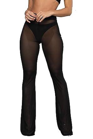 0b60bb013f Doqcey Women's Perspective Sheer Mesh Pants Swimsuit Bikini Bottom Cover up  Leggings (Black, ...