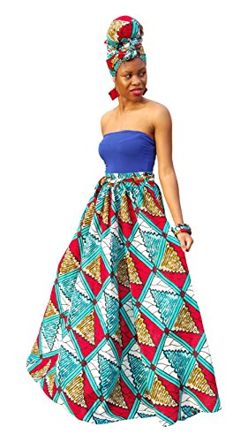 Dupsie's Red, Blue and White African Print High Waist Maxi Skirt by Dupsie's