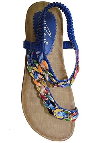 Sapphire TIENDA jlh782 briony Mujer elastificados Tira Acolchado Cadena Trenzado Chanclas Azul