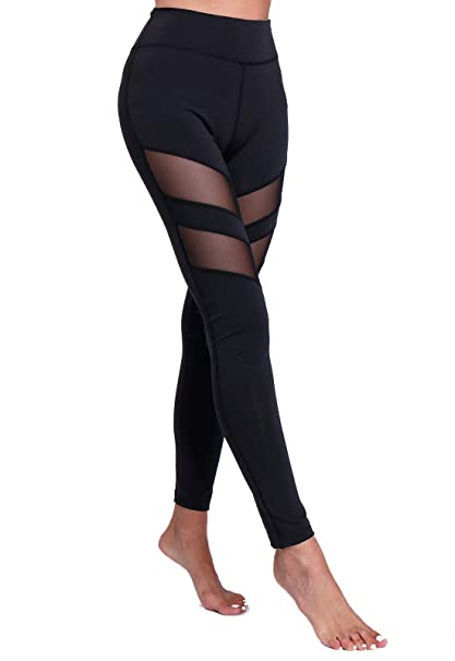 FITTOO Legging de Sport Femme Pantalon Yoga Collant Tulle ...