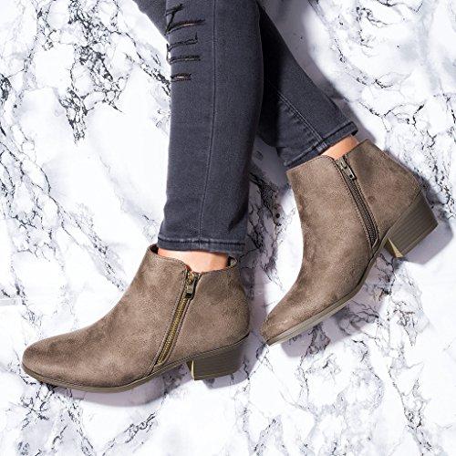 SPYLOVEBUY FRANKY Mujer Cremallera Tacón Bloque Botes Bajas Zapatos Marrón - Gamuza Sintética