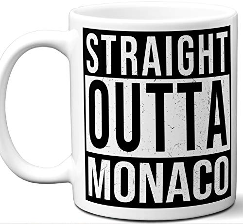 Monaco Souvenir Gift Coffee Mug. Unique I Love Country Tea Cup Flag Shirt Jersey Map Travel Scarf Tshirt Pin Art Patch Hat Men Women Birthday Mothers Day Fathers Day Christmas.