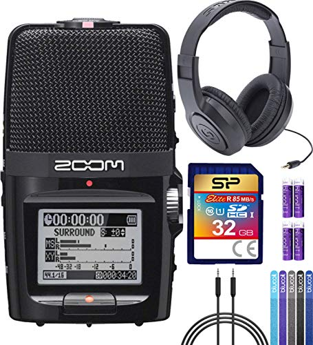 (Zoom H2N Handy Recorder Bundle with Samson SR350 Over-Ear Closed-Back Headphones, Silicon Power 32GB Class 10 SDHC SD Card, 6-FT Stereo Aux Cable, 4x Blucoil AA Batteries and 5x Cable Ties)